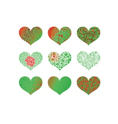Set of pattern heart vector image