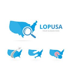 set of usa logo combination america and vector image
