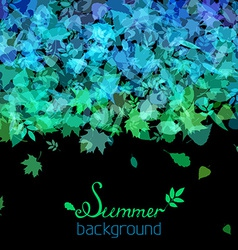 Set of various summer leaves silhouettes on black vector