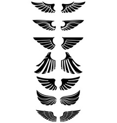 set wings icons design elements for logo label vector image