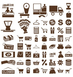 Shop and seller icons on white vector image