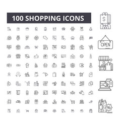 shopping editable line icons 100 set vector image