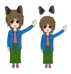 Short hair girl with cat ears presenting vector