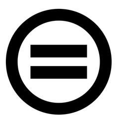 Sign equally black icon in circle isolated vector