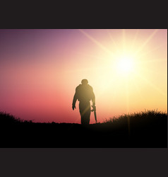 Silhouette of a soldier at sunset vector