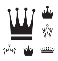 simple black crown icon set isolated vector image