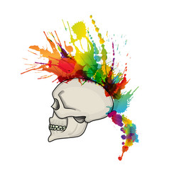 Skull with mohawk hair style made colorful vector