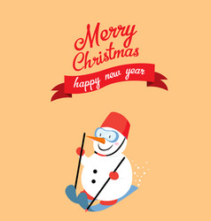snowman skiing with merry christmas vector image