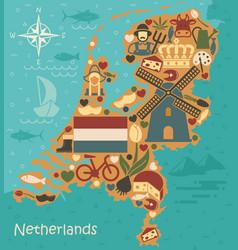 Stylized map netherlands vector