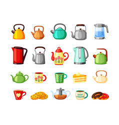 teapots and electric kettles large set metal vector image