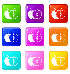 The whole apple and half set 9 vector