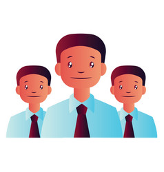 three man with ties on white background vector image
