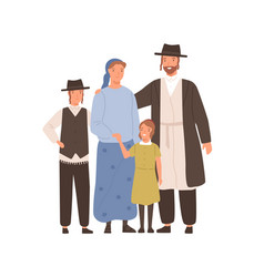 Traditional jews smiling cartoon family vector