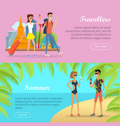 travellers and summer banners people on vacation vector image