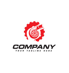 Turbocharger and gear logo automotive performance vector