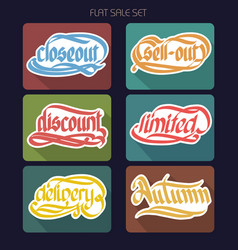 Typographical sale inscriptions collection vector