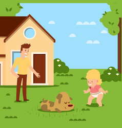 walking bafirst step in home clean yard vector image