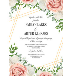 Wedding floral invite invtation card design vector