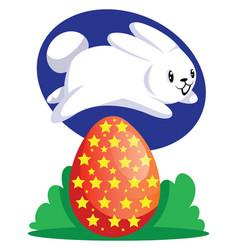 white easter rabbit jumping over red egg web on vector image