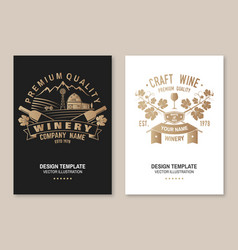winery company poster flyer template card vector image