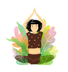 Woman meditating and relaxation in nature yoga vector