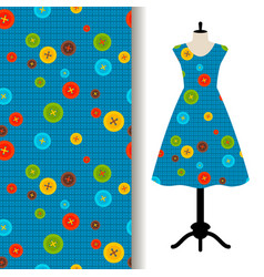 womens dress fabric with sewing pattern vector image