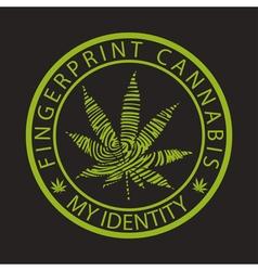 Fingerprint cannabis-marijuana vector image