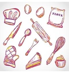 Kitchen accessories doodle vector image vector image
