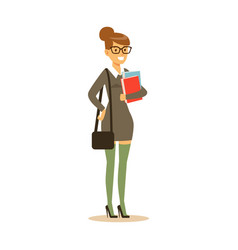 smiling student in gray dress with books in her vector image