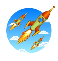 Vintage old rockets on a sky background vector image vector image