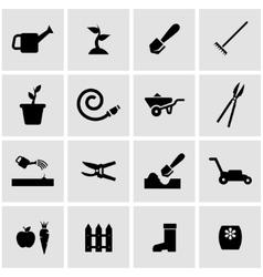 black gardening icon set vector image vector image