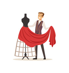 Male dressmaker sewing red dress on a dressmakers vector