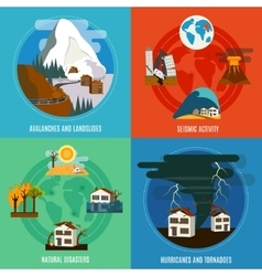 Natural Disaster 4 Flat Icons Set vector image vector image