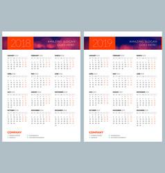 set of two calendar posters 2018 and 2019 years vector image