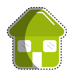 sticker green house with door roof and windows vector image