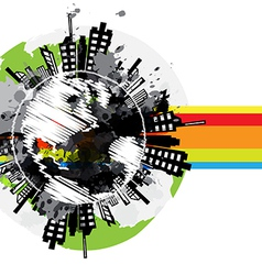 Drawing global urban banner design vector