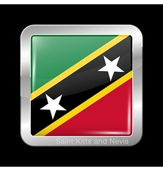 Flag of Saint Kitts and Nevis Metal Square Icon vector image vector image