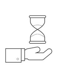 Hourglass on hand line icon vector image