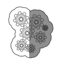 monochrome contour sticker with pinions set vector image