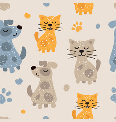 childish seamless pattern with cute dogs and cats vector image
