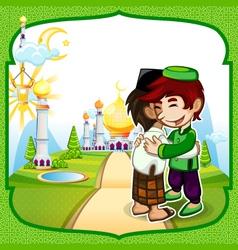 Eid mubarak greeting card vector