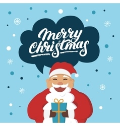 Funny santa claus with a gift wishes you merry vector