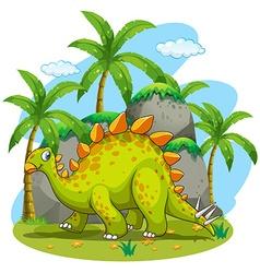 Green dinosaur walking in the park vector image