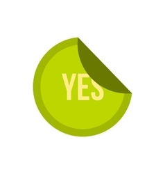 Green yes button icon flat style vector image vector image