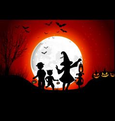 halloween background little girls with pumpkins on vector image