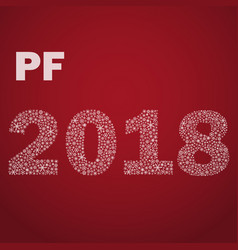 red happy new year pf 2018 from little snowflakes vector image vector image