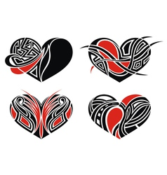 Set of tattoo hearts vector image vector image