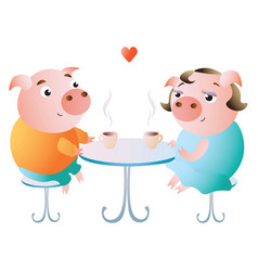 a couple of pigs on a date in a cafe vector image
