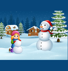 a girl making snowman in winter and snowy landscap vector image