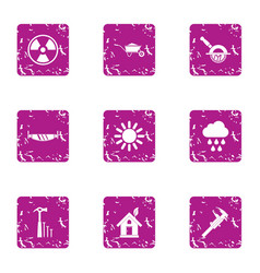 Absolute energy icons set grunge style vector